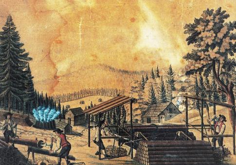 Herstellung von Holzröhren beim Neubergstollen, Kefer, 1826, Archiv ÖSAG