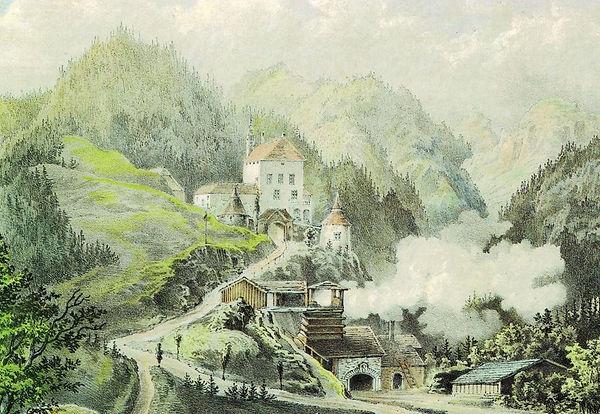 Zementwerk Leube, Hallein, um 1855, Internet