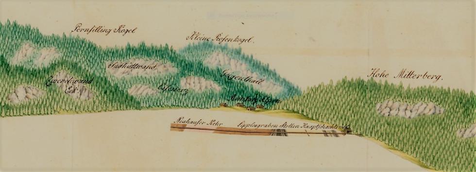 Grubenriss, Kefer, 1834, Archiv Salinen Austria