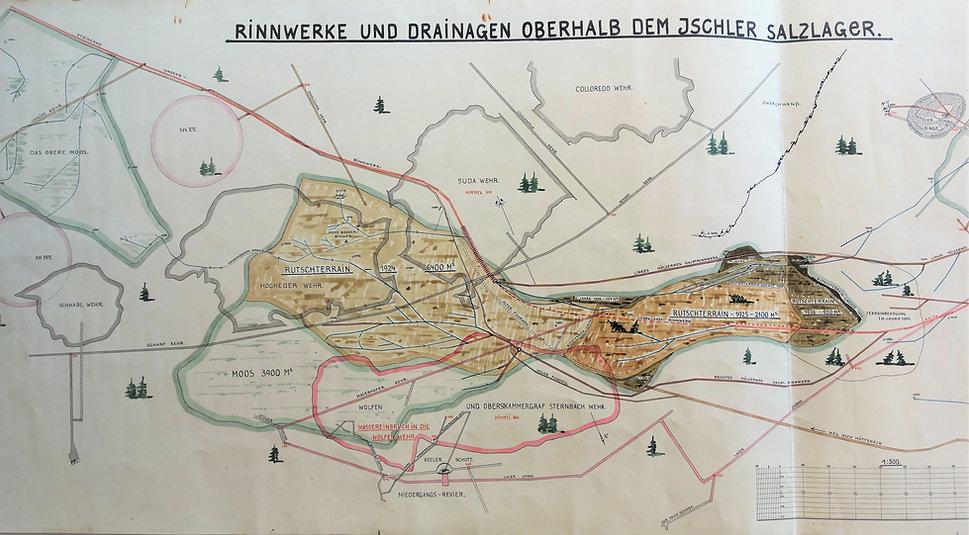 Rutschterrain in den Jahren 1924 / 1925 / 1926 / 1927 / 1931salzberg_tagrevier_drainagierung