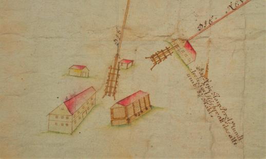 Situation Steinberg, 1757, Sollinger, Archiv Salinen Austria