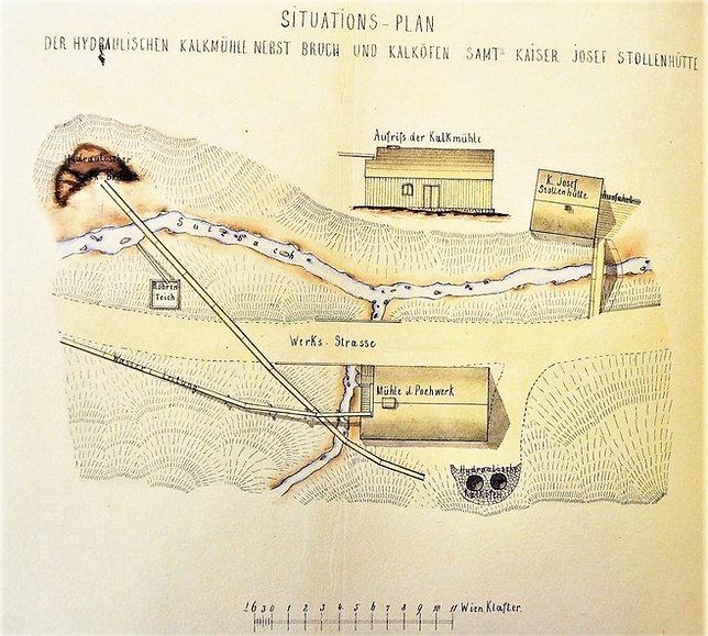 Situationsplan hydraulisches Kalkwerk beim Josef Stollen, um 1860, Archiv Salinen Austria