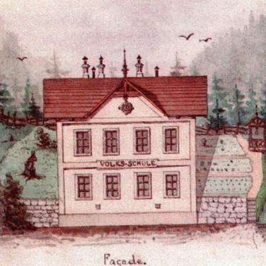 Volkschule Mitterweißenbach, um 1890, aus Heimatbuch Bad Ischl, 2014