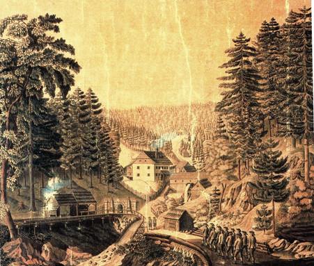Anfahrt zur Schicht, F. X. Kefer, 1836, Archiv Salinen Austria