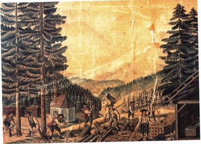 """Holzarbeiten mit Bergkapelle, 1826, F. X. Kefer, aus Herbert Köberl """"Bad Ischl"""""""