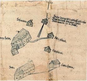 Situation Steinberg, um 1600, Archiv Salinen Austria