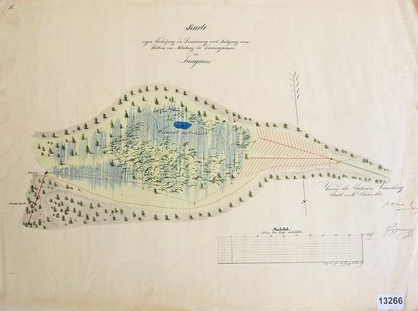 """Plan Langmoos mit Entwässerungsgräben und Entwässerungsstollen """"Warmes Loch"""" 1860, Archiv SBB Bad Ischl"""