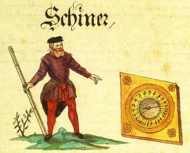 Schiner mit Kompass und Messlatte, Schwazer Bergbuch, 1556, Internet