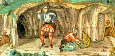 Schiner beim Vermessen, Schwazer Bergbuch, 1556, Internet