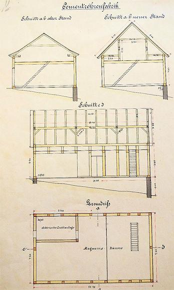Umbau Zementröhrenfabrik, 1911, Archiv Salinen Austria