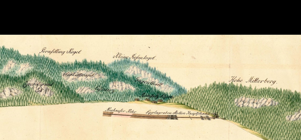 Lipplesgraben Stollen mit Taggegend, Kefer 1834, Archiv Salinen Austria