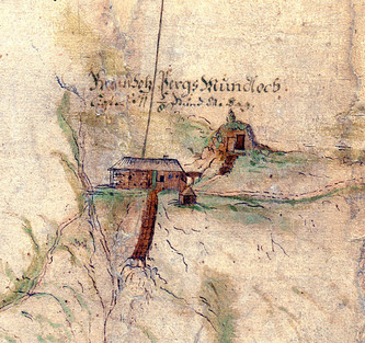 Mundloch und Berghaus, Wibna, 1716, Detail Stollenplan, Archiv Salinen Austria
