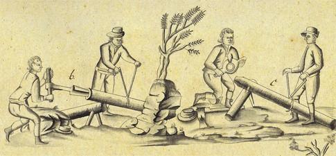 Zuspitzen und Erweitern von Holzröhren, 1807, Archiv ÖSAG