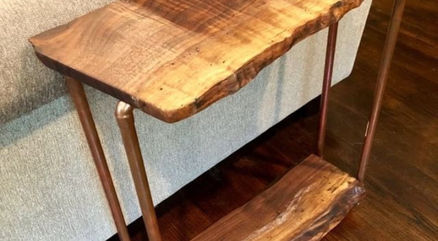 Live Edge Walnut Side Table with lower shelf