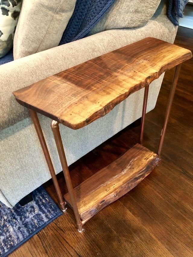 Live Edge Walnut Side Table with lower shelf