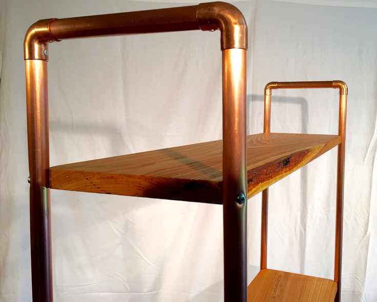 Live Edge Kentucky Coffee Tree Bookshelf with Copper Pipe