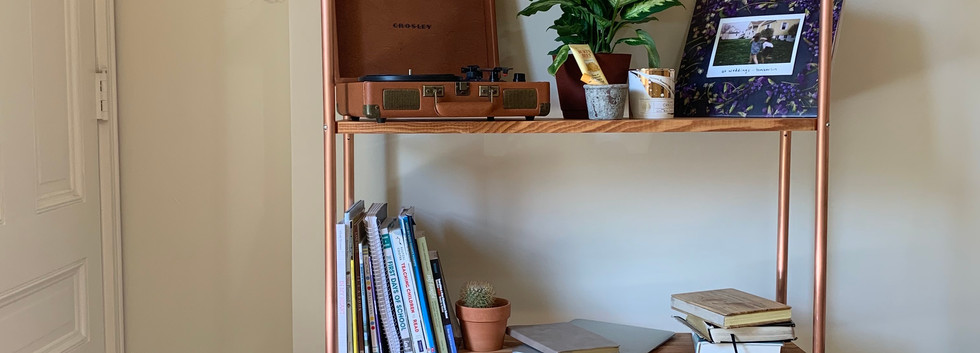 Live Edge Kentucky Coffee Tree Bookshelf with Copper Pipe