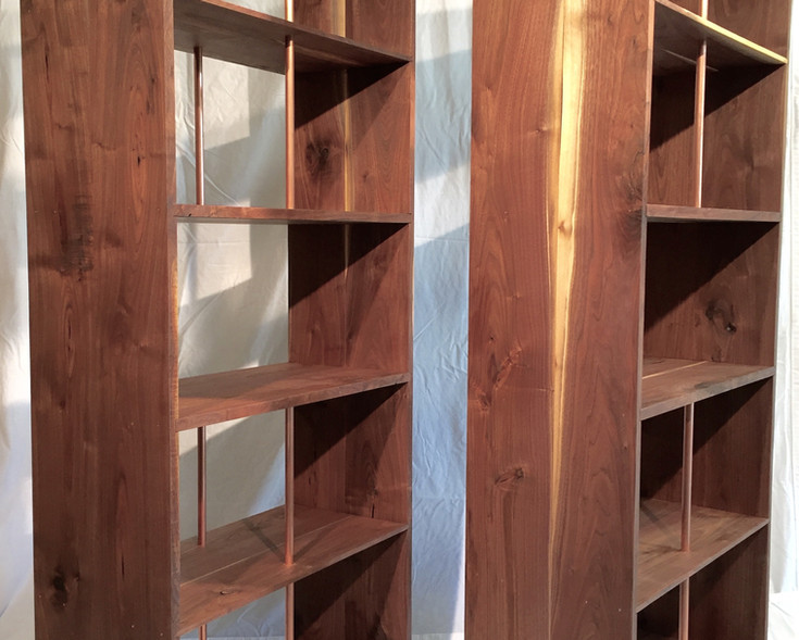 Walnut Divided Shelf with Copper Pipe