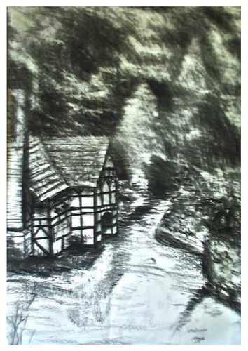 Charcoal study of cottage