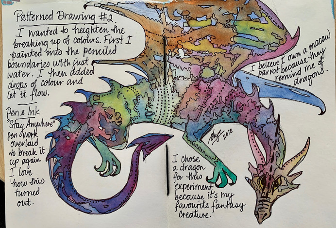Dragon using watercolours and pen