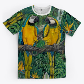 Macaw design into all over print shirt
