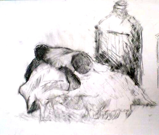 Charcoal study of skull and bottle