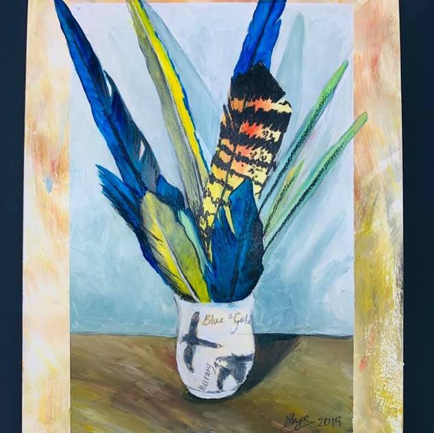 Figurative Feathers in Jar