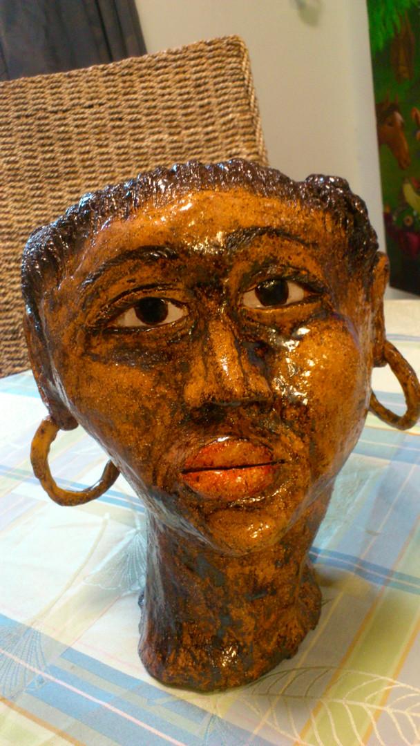 Gaint clay head African lady