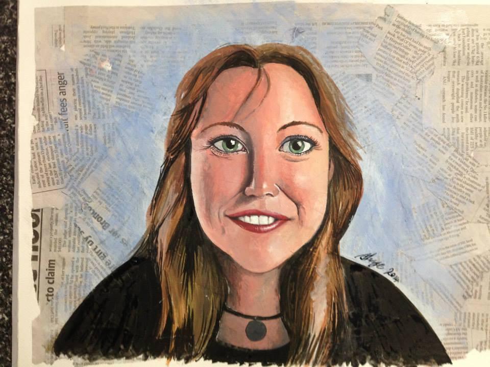 Self Portrait in guache on newspaper