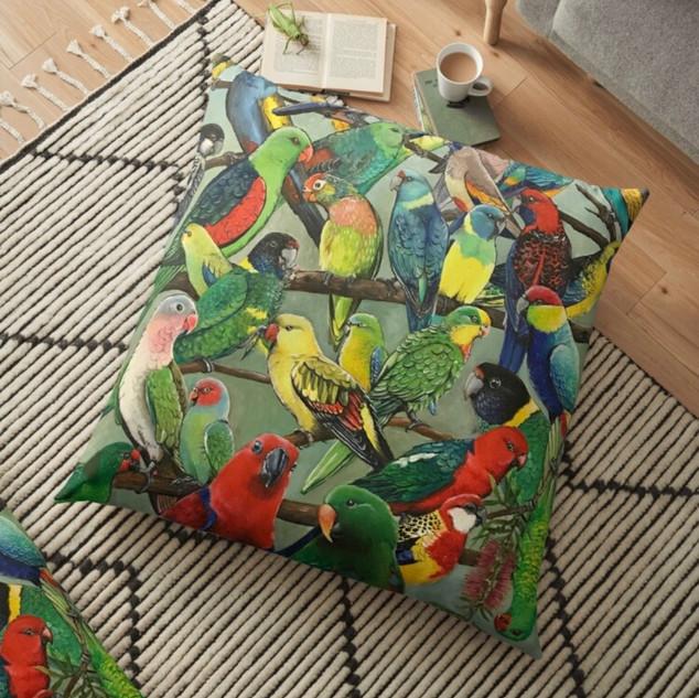 Parrot design #2 into pillow