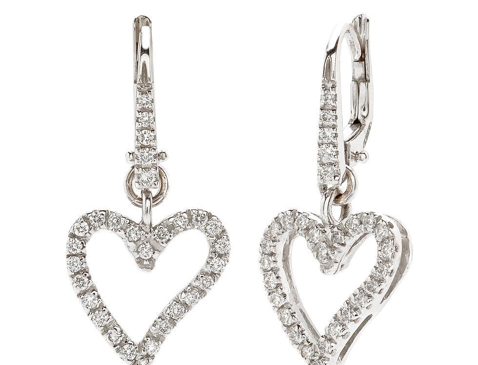 Orecchini a cuore in oro bianco e diamanti bianchi