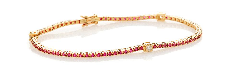 Bracciale tennis in oro rosa e rubini naturali