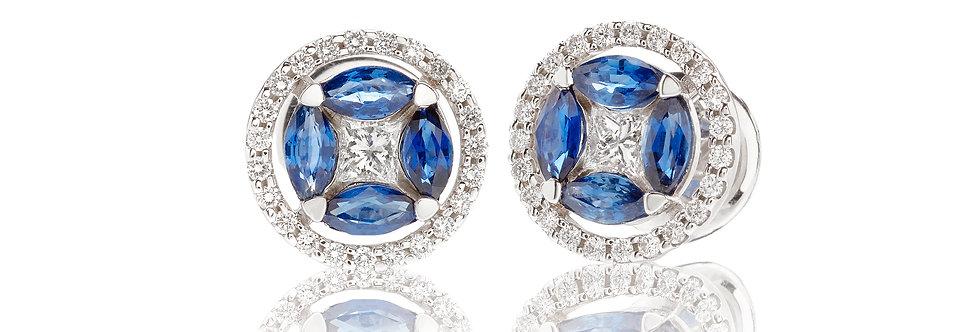 Orecchini in oro bianco diamanti e zaffiri taglio navette
