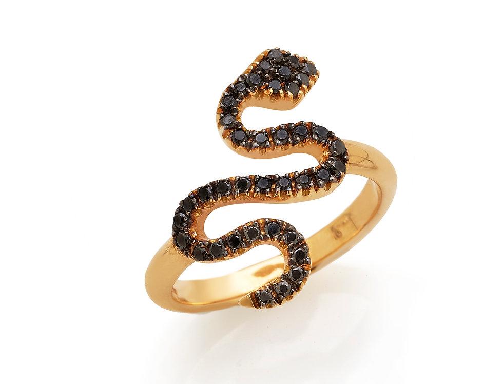 Anello serpente in oro rosa e diamanti neri