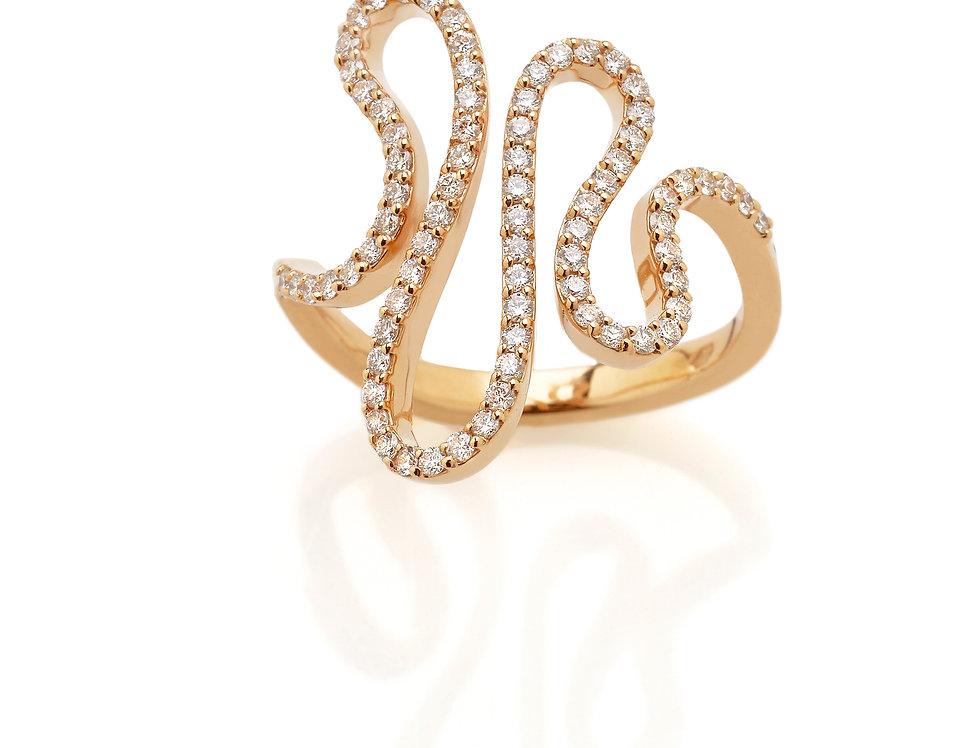 Anello esse in oro rosa e diamanti bianchi