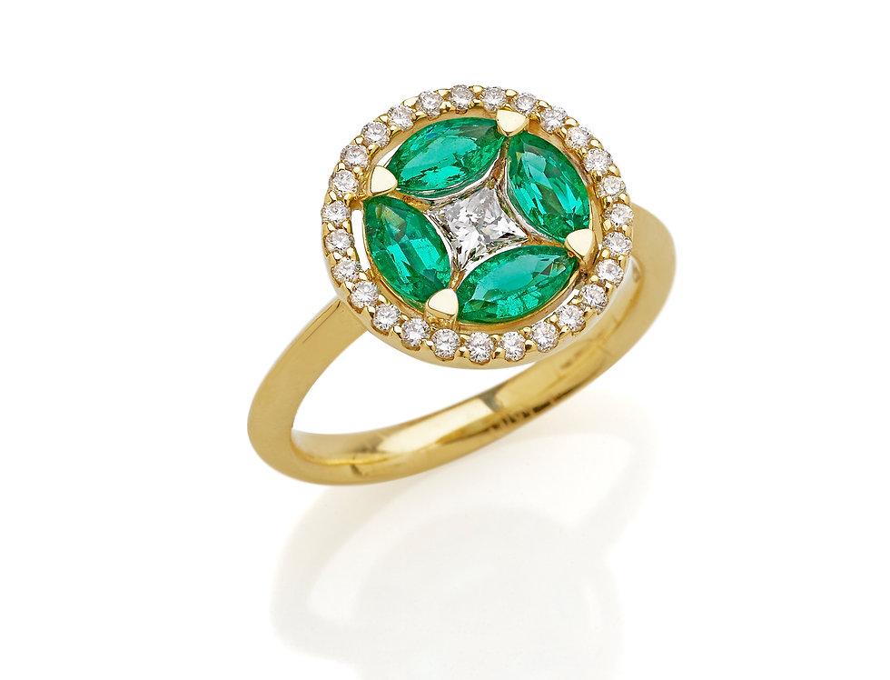 Anello in oro giallo diamanti bianchi e smeraldi taglio marquise
