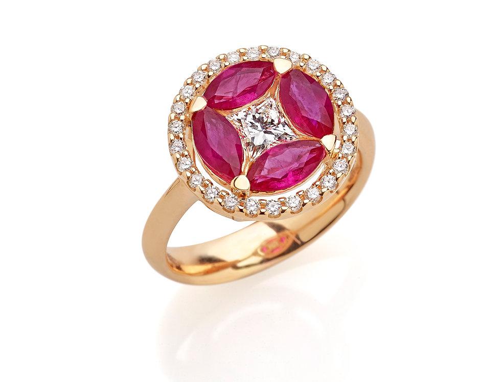 Anello in oro rosa diamanti naturali bianchi e rubini taglio marquise