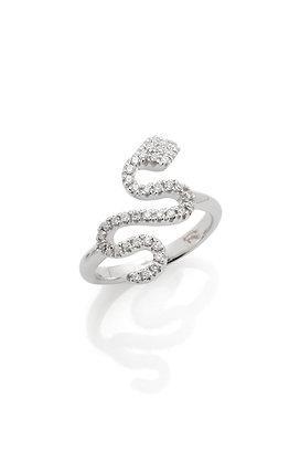 Anello serpente in oro bianco e diamanti bianchi