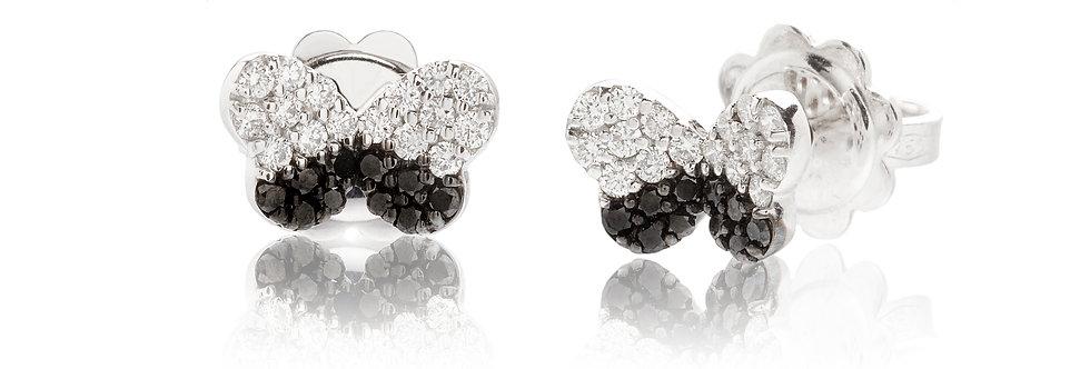 Orecchini in oro bianco diamanti bianchi e neri