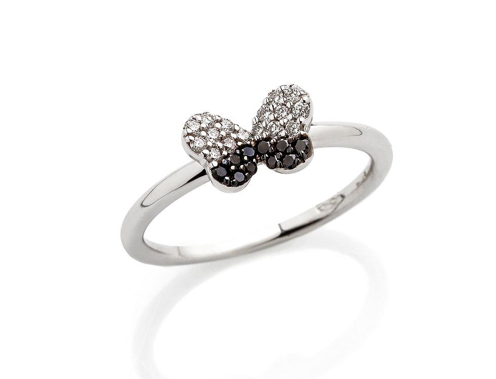 Fedina in oro bianco con diamanti bianchi e neri
