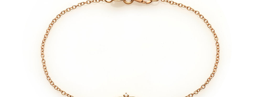Bracciale corona in oro rosa e diamanti bianchi