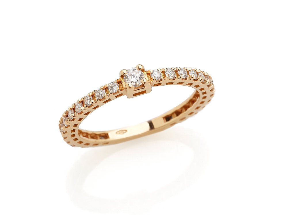 Fedina in oro rosa e diamanti bianchi
