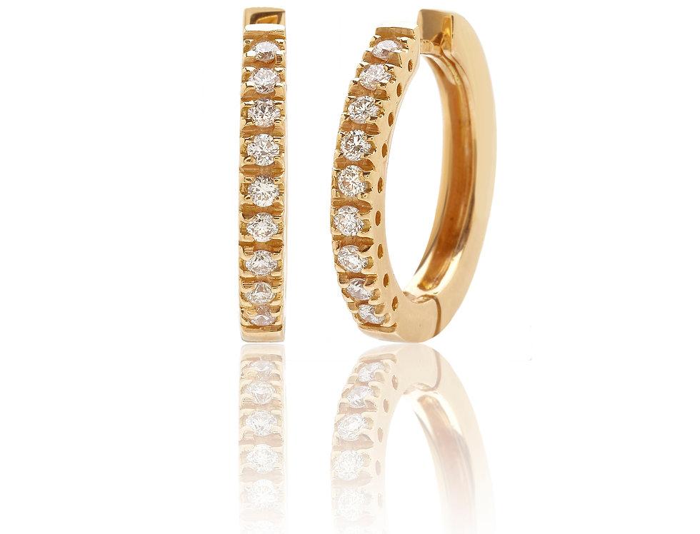 Orecchini a cerchio in oro giallo e diamanti