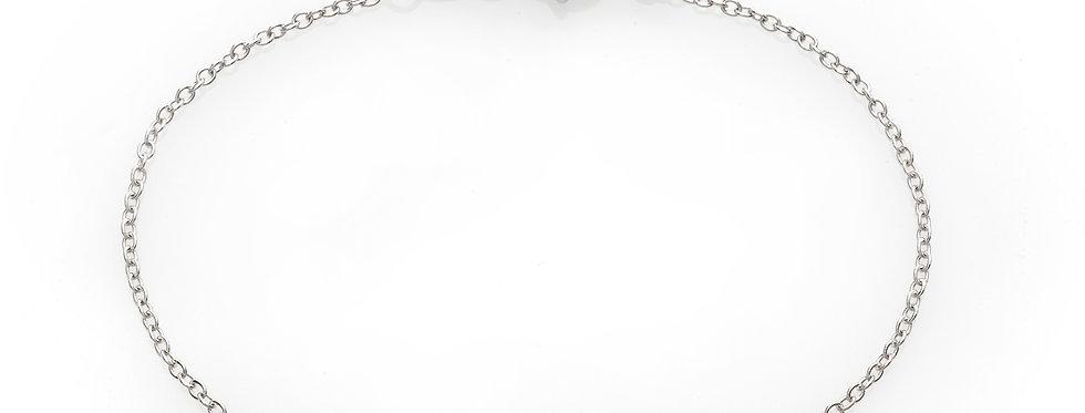 Bracciale corona in oro bianco e diamanti bianchi