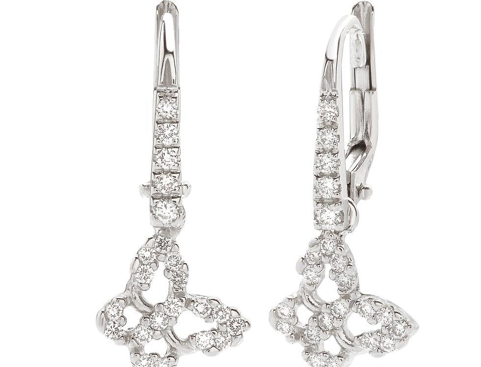 Orecchini farfalla in oro bianco e diamanti