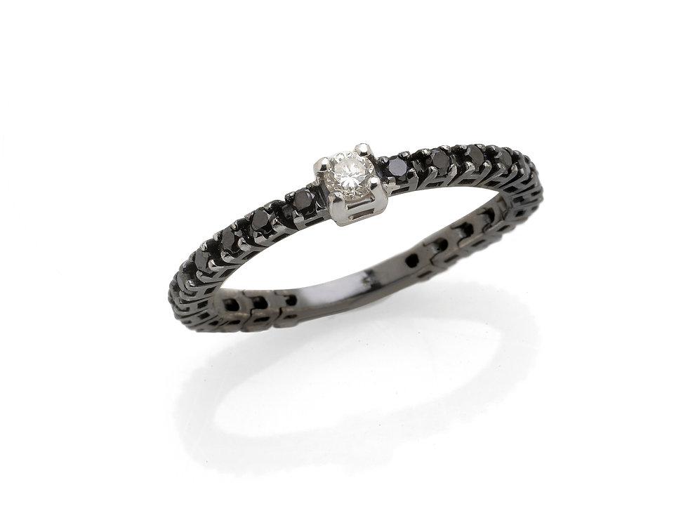 Fedina in oro bianco rodiato nero con diamanti neri e bianchi
