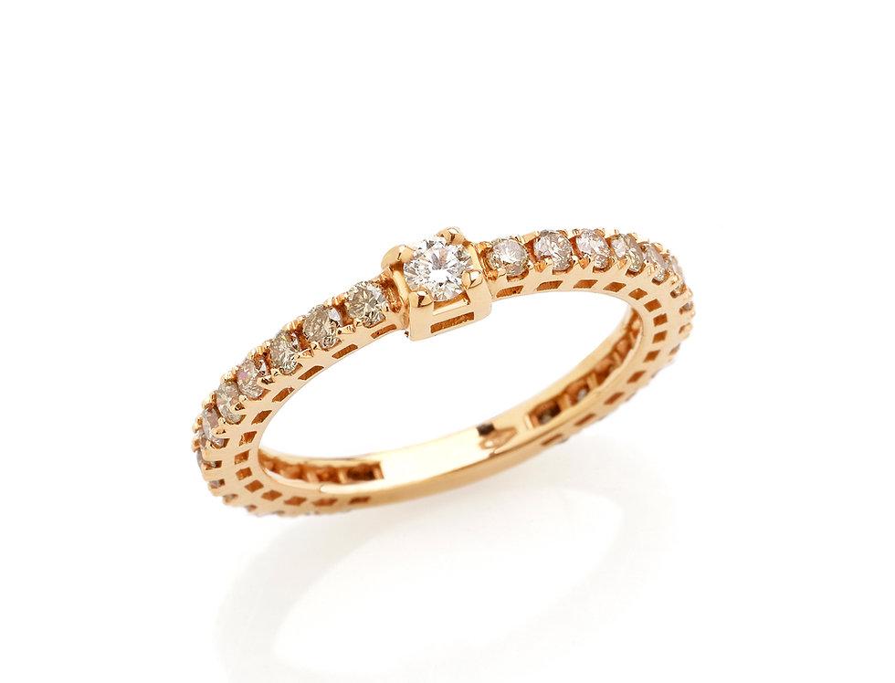Fedina in oro rosa e diamanti bianchi e brown