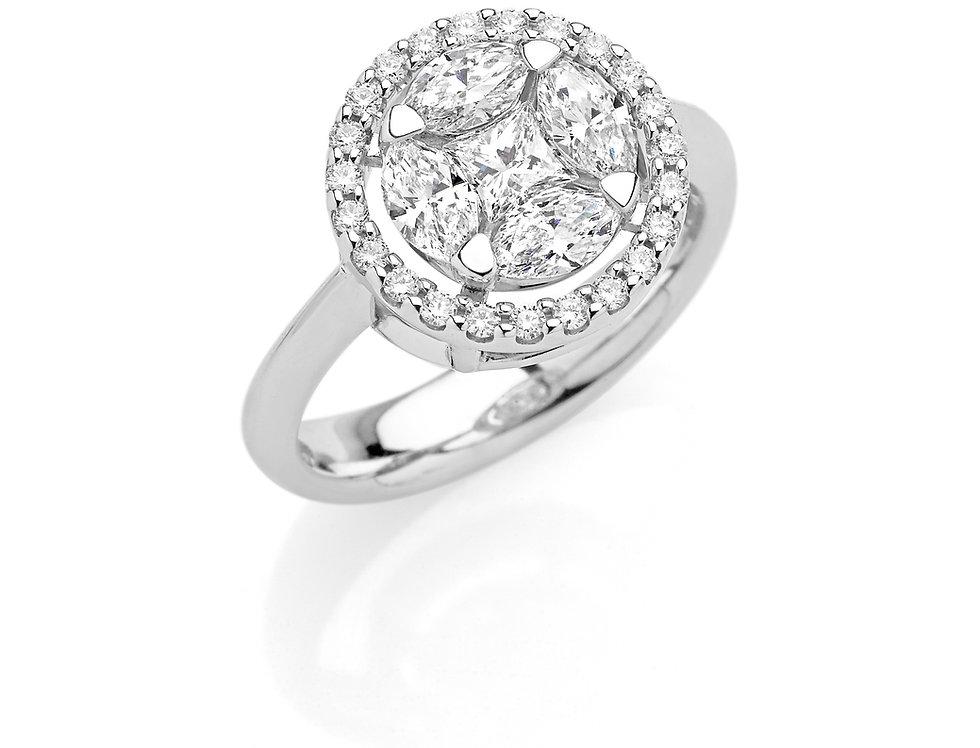 Anello in oro bianco e diamanti bianchi