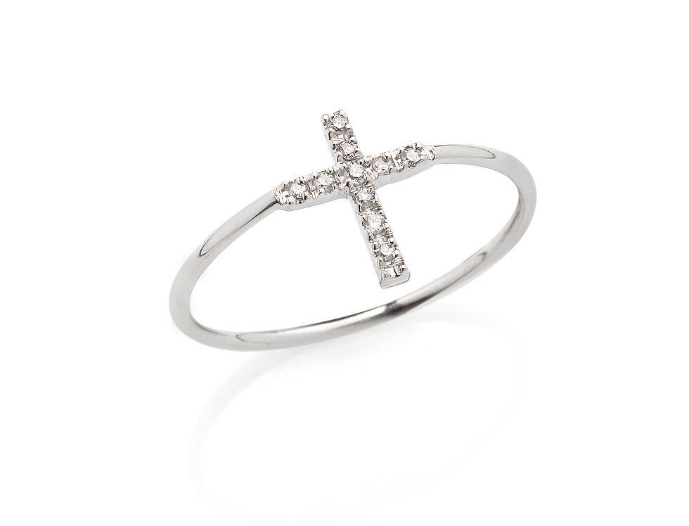 Anello croce in oro bianco e diamanti bianchi