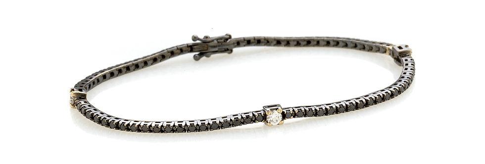 Bracciale tennis in oro bianco rodiato nero e diamanti neri e bianchi